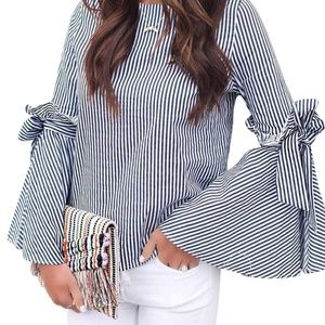 Chickwish stripe shirt